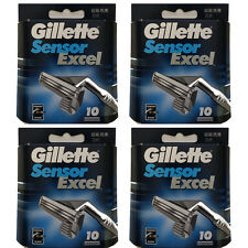 40 Ct Gillette Sensor Excel Refills Blades Cartridges (4 Packs of 10)