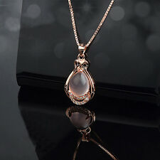 Charm Woman Rose Gold Plated Crystal Pink Stone Pendant Chain Cute Necklace