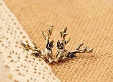 Boucles d'oreilles retro vintage tetes de cerfs trophée de chasse couleur bronze