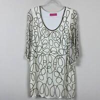 Pookie & Sebastian Beaded Shift Bell Sleeve Ivory Silk Women's size M Dress