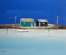 tableau peinture, cabane ostréicole Tremblade, barque blanc dans l'eau ciel bleu