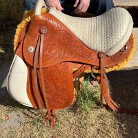 "Brazilian leather saddle 16"" on eco leather buffalo on color chestnut"
