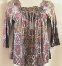 ONE WORLD~Gray Pink Gold Multi~3/4 Sleeve~Soft Knit~Sublimation Top~MED