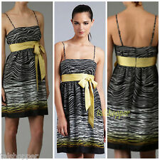 NWT 12 Max & Cleo Black and Yellow Ribbon Tie Front Summer Sun Dress BCBG CUTE
