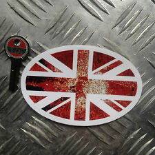 rusty union jack oval car sticker / decal 110mm wide x 70mm high ratlook vw
