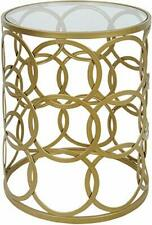 Palais Furnishings 'Feuilles' Metal Barrel End Table, Glass Top Circles Gold