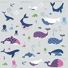 SEA WHALES 50 Wall Decals OCEAN ANIMALS Room Decor Stickers Bathroom Decorations