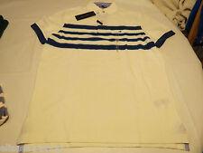 Men's Tommy Hilfiger Polo shirt stripe logo 7868242  Snow White 118 S NWT