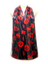 Remembrance Day Red POPPY print Soft Silky Shiny Navy Scarf Shawl Wrap Stole UK