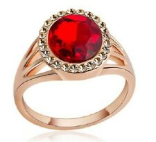 18K ROSE GOLD PLATED CZ RUBY & CHAMPAGNE CRYSTAL OVAL CUT RING. SIZE L