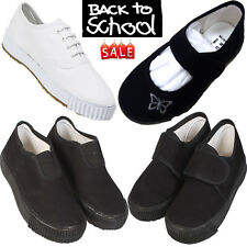 BACK TO SCHOOL BOYS GIRLS UNISEX ADULT PE GYM SPORTS PUMPS PLIMSOLLS SHOES SIZE
