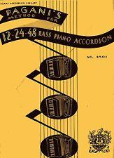 "Accordion Music Book ""PAGANI'S METHOD FOR 12-24-48 Bass Piano Accordion"" - 1937"