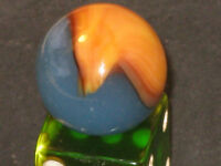 RARE Persian Blue PARADISE BIRD Akro Agate Yellow/Brown Vintage Glass Marble
