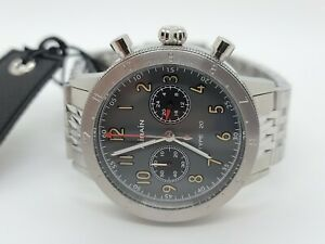 New AIRAIN Type 20 Chronograph 41.5mm Stainless Men's 10 ATM Watch #229015 w/Box