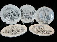TABLETOPS UNLIMED NEW ENGLAND TOILE 5 DINNER PLATES 3 DIFFERENT SCENES 10 7/8""