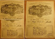 *NH* Certificato fattura - fabbrica di Molini - A.Millot & C. Milano - 1895