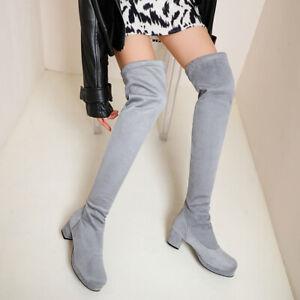 UK Women's Ladies Thigh High RoundToe Block Heels Over The Knee Platform Boots