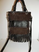 Innue Italy Brown Leather Suede Fringe Small Tote Crossbody Bag Italy