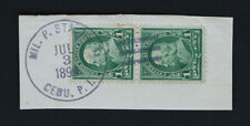 1899 Cebu Philippine Islands Cancel on Paper Segment Pair 1c Franklin Scott #279