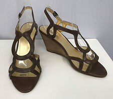 BELLE SIGERSON MORRISON SHOES DISTRESSED BROWN LEATHER STRAPS WEDGE SIZE 8 B 8