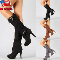 Women's Knee High Stiletto Heel Boots Ladies Party Buckle Zip Mid Calf Leg Shoes