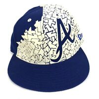 New Era 59fifty Atlanta Braves Baseball Hat Fitted 7 1/8 Blue White (P)