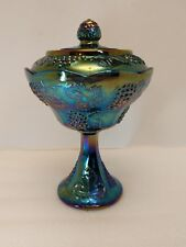 Beautiful Fenton Amethyst Carnival Glass grape vine design Candy Dish with Lid