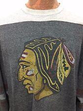Chicago Blackhawks Sweatshirt Mens 2XL Distressed Logo Lightweight Pullover