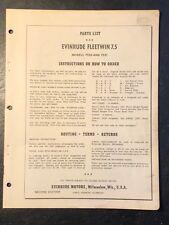 1956 Evinrude Fleetwin 7.5hp Models 7520 & 7521 Outboard Motor Parts Catalog