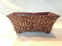 VTG Mid-cent Pottery Brown Drip speckled USA Window Herb Garde Planter Vase