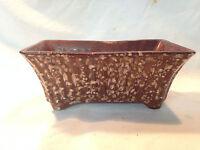 VTG Mid-cent Pottery Brown Drip speckled USA Window Herb Garde Planter Vase