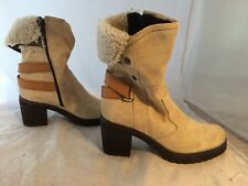 NEW Manas Beige Suede/Genuine Shearling Boots, Women Size 37 (6.5-7 US) $300