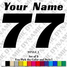 Motocross Number Plate Decals Custom Name Mx Stickers Atv Bmx Race Dirt Bike Car