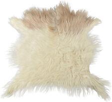 Authentique Peau de chèvre NATURE BLANC 75 x 70 cm cheveux longs