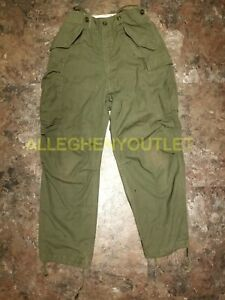 US Military Vintage M-65 Sateen Field Pant Trousers Cold Weather OD Small USED