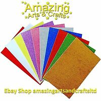 Craft Foam SELF ADHESIVE Glitter Foam Sheets A4 Pack of 10 Assorted