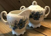 Vintage Inarco Japan Covered Sugar Bowl and Creamer E-4773- Blue Daisy Floral