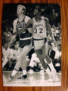 Larry Bird Celtics Magic Johnson Lakers Basketball 4x6 Photo Picture Card