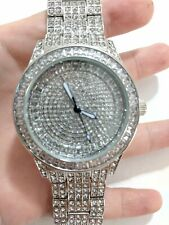 Men Iced Watch Bling Rapper Fully Simulate Diamond Metal Band Luxury Silver