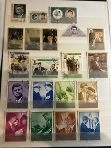 John F. Kennedy 30+ stamp collection various countries
