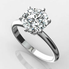 DIAMOND SOLITAIRE RING 2 CARAT ROUND VS1 F EXCELLENT CUT 14K WHITE GOLD 6 PRONG