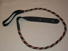 Lakota Leathers Round Braided Elk Leather Mandolin Strap Black & Tobacco Soft!