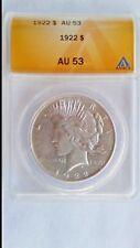 1922 $1 Peace Dollar ANACS  AU 53 Brilliant Luster Sale