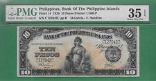 1920 BANK OF THE PHILIPPINES ISLANDS TEN PESO P-14 PMG VF 35 EPQ