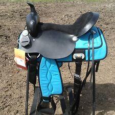 """17"""" Turquoise blue /black Krypton Western trail / pleasure saddle"""