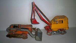 2 Vintage Hubley Toys Parts/Restore Steam Shovel Bulldozer Construction Old