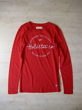 NWT Hollister women RED Logo Graphic Embroidery Long sleeves Slim T shirt Top XS