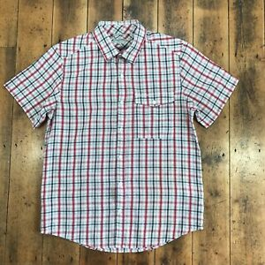 Men's Craghoppers Check Cotton Short Sleeve Shirt Red/White Size M