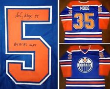 ANDY MOOG AUTOGRAPHED EDMONTON OILERS JERSEY W/ 84,85,87 CUPS
