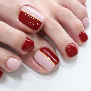 Fake Nails French Wine Red Pink Splicing Design Full Artificial Toenails Tips